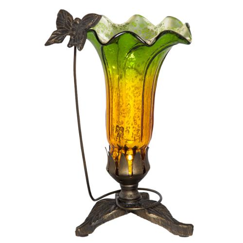 "9"" H Hand Blown Mercury Glass Butterfly Lily Lamp Green/Amber"