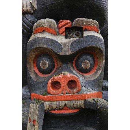 Park Totem Poles (First Nation Totem Pole, Thunderbird Park, Victoria, Vancouver, British Columbia, Canada Print Wall Art By Walter)