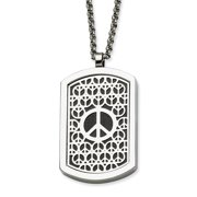 Stainless Steel Peace Symbol & Fancy Reversable Dog Tag 22 in Necklace