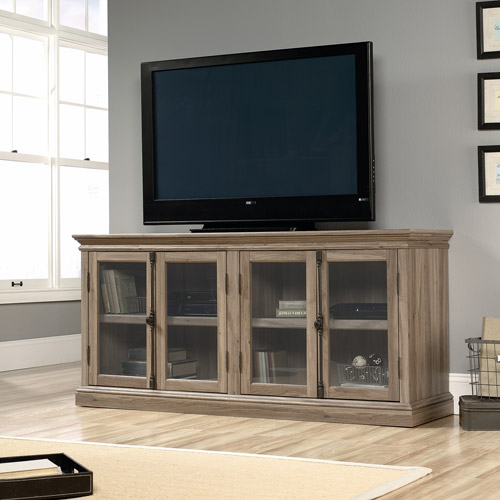 "Sauder Barrister Lane Credenza, for TVs up to 80"", Salt Oak"