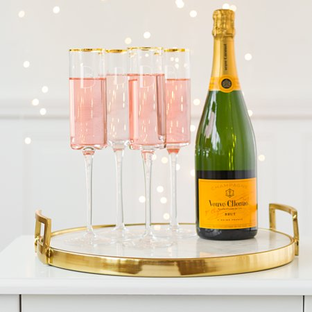 Personalized 8 oz. Gold Rim Contemporary Champagne Flutes (Set of 4) - Personalized Champagne Glasses
