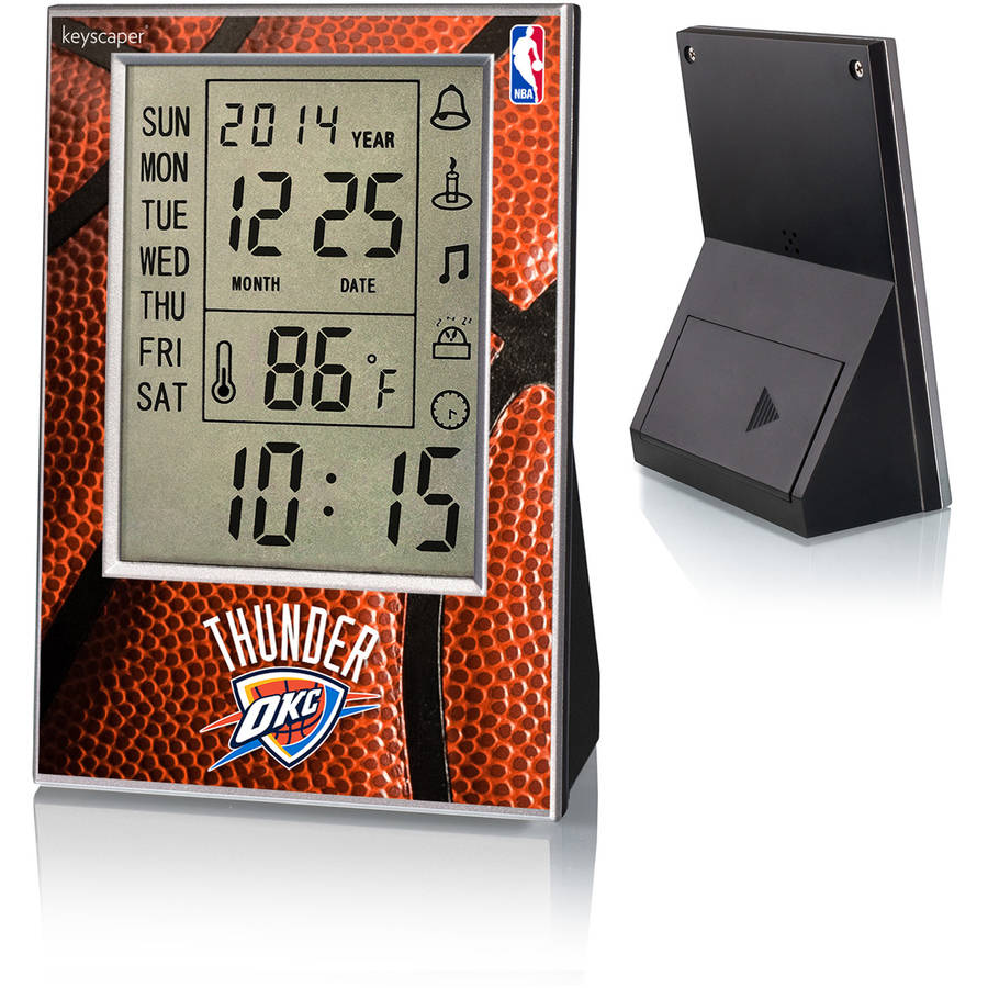 Oklahoma City Thunder Basketball Design Digital Clock by Keyscaper