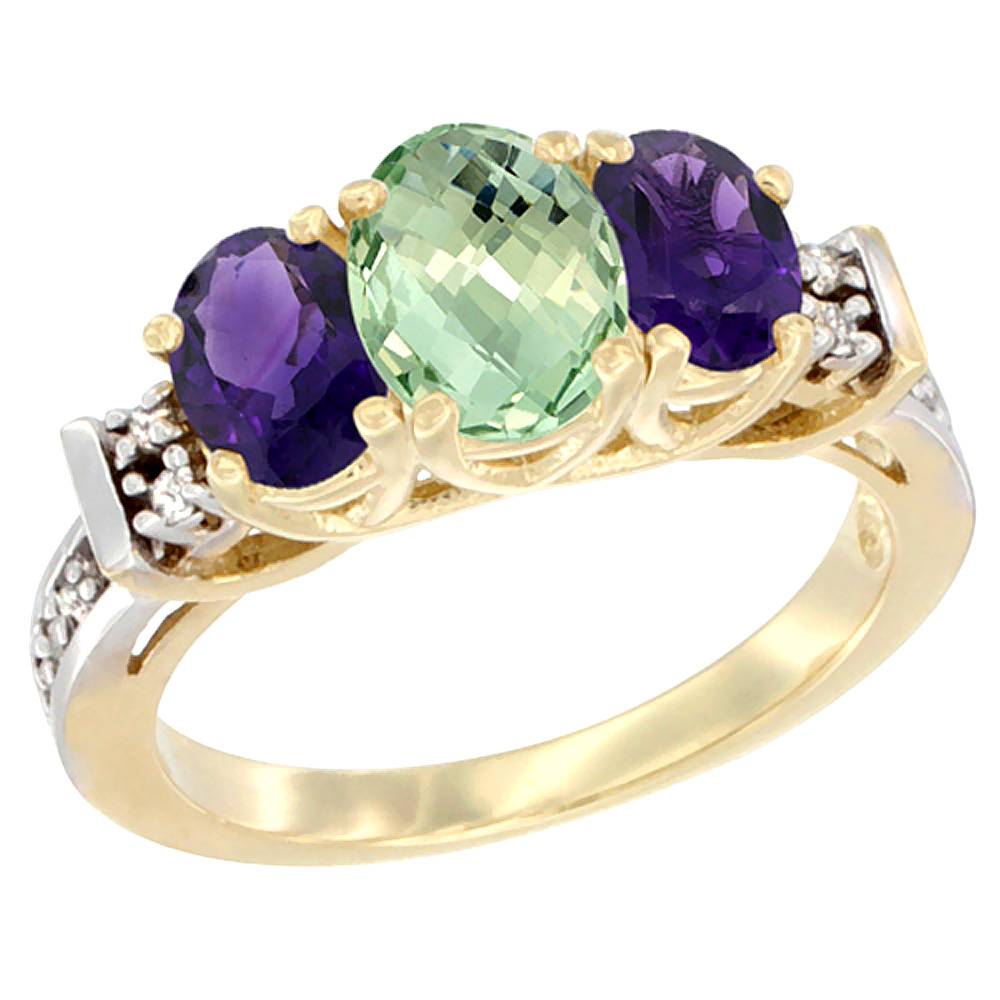 10K Yellow Gold Natural Purple & Green Amethysts Ring 3-Stone Oval Diamond Accent by WorldJewels