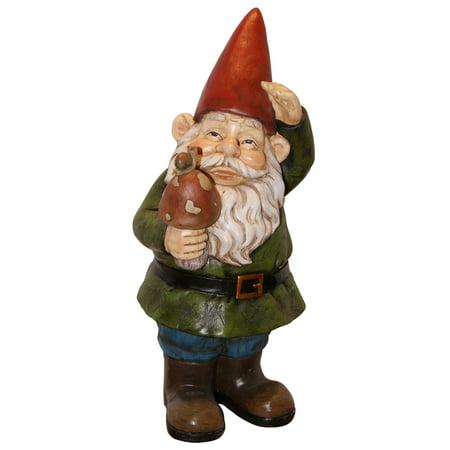 Alpine Gnome Holding a Mushroom Statue, 12 Inch Tall (Photographer Statue)