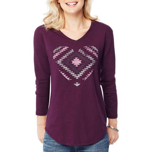 Hanes Women's Printed Long Sleeve V - neck T - shirt