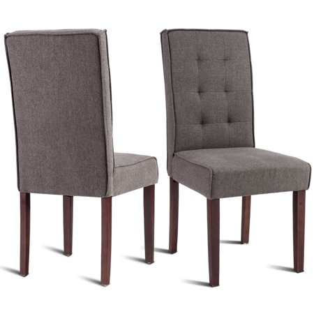 - Gymax Set of 2 Parson Dining Chair Linen Fabric Upholstered with Solid Wood Legs Brown