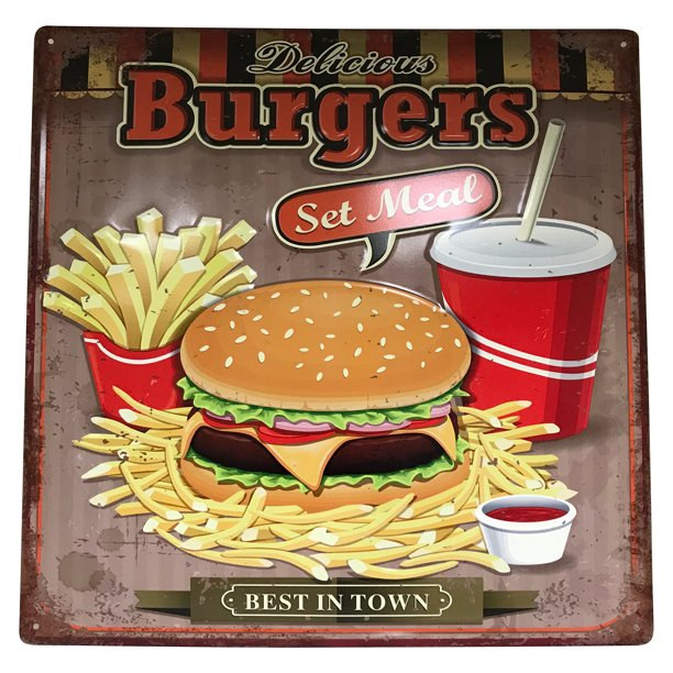 Restaurant Bar Sign: 22248, Large 15 Inches Metal Sign: Delicious Burgers Set Meal; Best in Town Sign; Store, Shop, Home, Restaurant Decor;