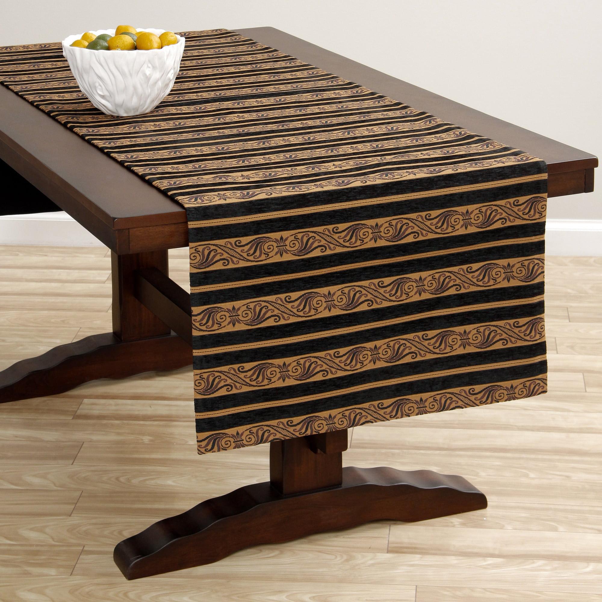 Corona Decor  Extra Wide Italian Woven 95 x 26-inch Black/ Gold Stripe Table Runner