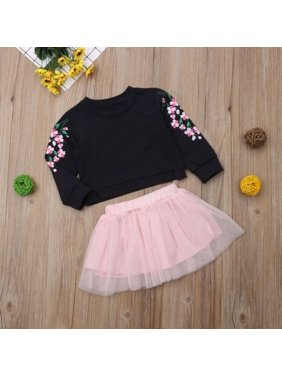 72ef554aa225 Product Image Trendy Toddler Baby Girl Kids Floral Long Sleeve Tops+Tutu  Skirt Dress Outfit Set 1