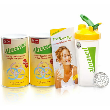 Almased Meal Replacement Shake - Soy Protein Powder for Weight Loss - Shake for Weight Management (2 pack +Blender Bottle Shaker and Diet Recipe