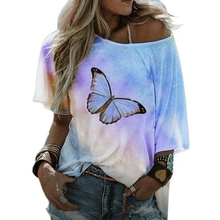 Women's Butterfly Printed Tie Dye Gradient Short Sleeve T Shirt Summer Casual Blouse Tops