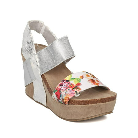 aeb146155758 Nature Breeze - Women Floral Platform Wedge - Slingback Sandal ...