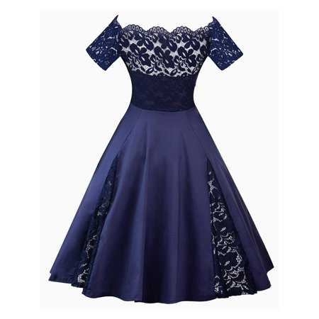 Plus Size Ladies 50s 60s Vinatge Style Swing Dress Short Sleeve Off Shoulder Cocktail Formal Party Evening Ball Gown ()