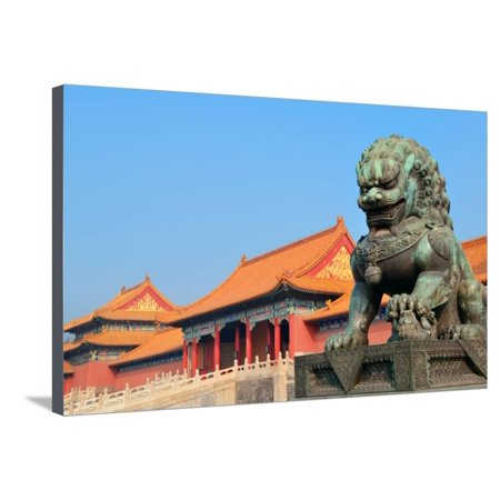 Lion Statue and Historical Architecture in Forbidden City in Beijing, China. Stretched Canvas Print Wall Art By Songquan Deng ()