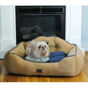 ez living home drowzzzy Courtier Crown Embroidered Reversible Micro Velvet Bolster Pet Bed with Tufted Headboard