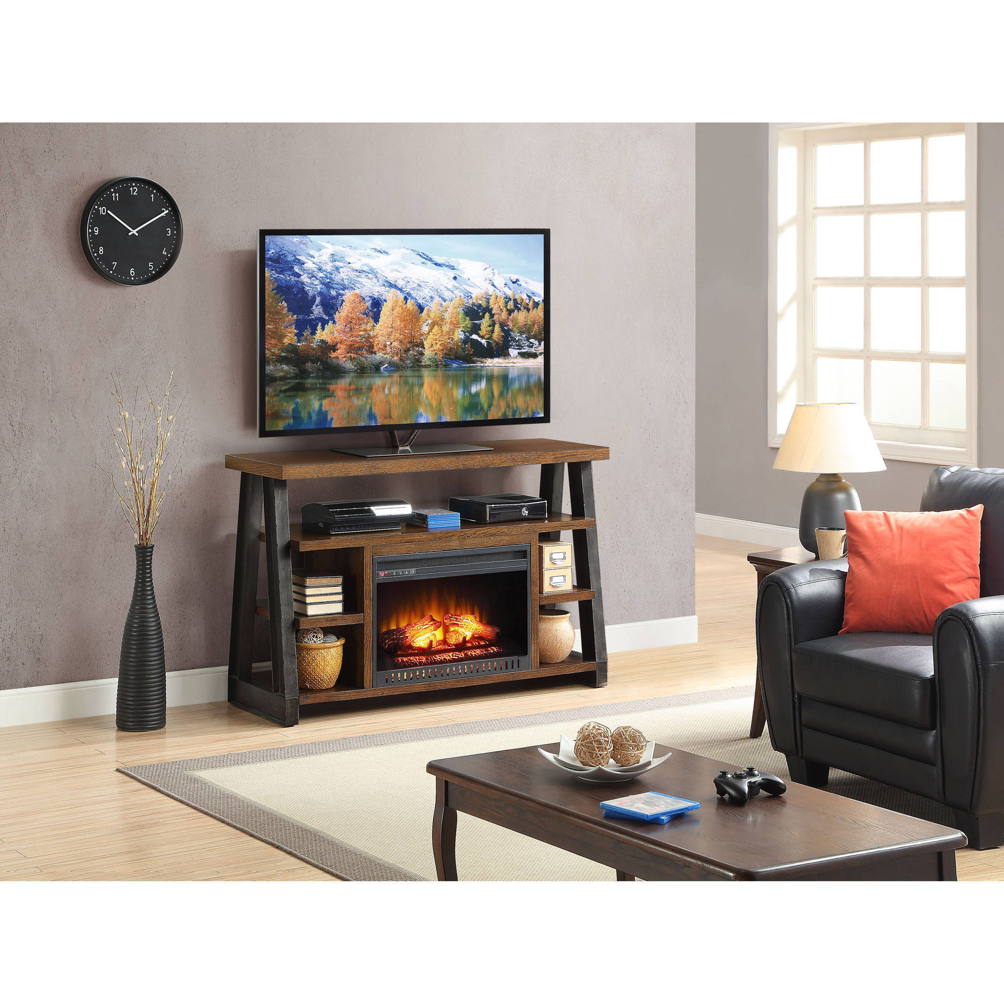 Whalen Industria Media Fireplace, Brown