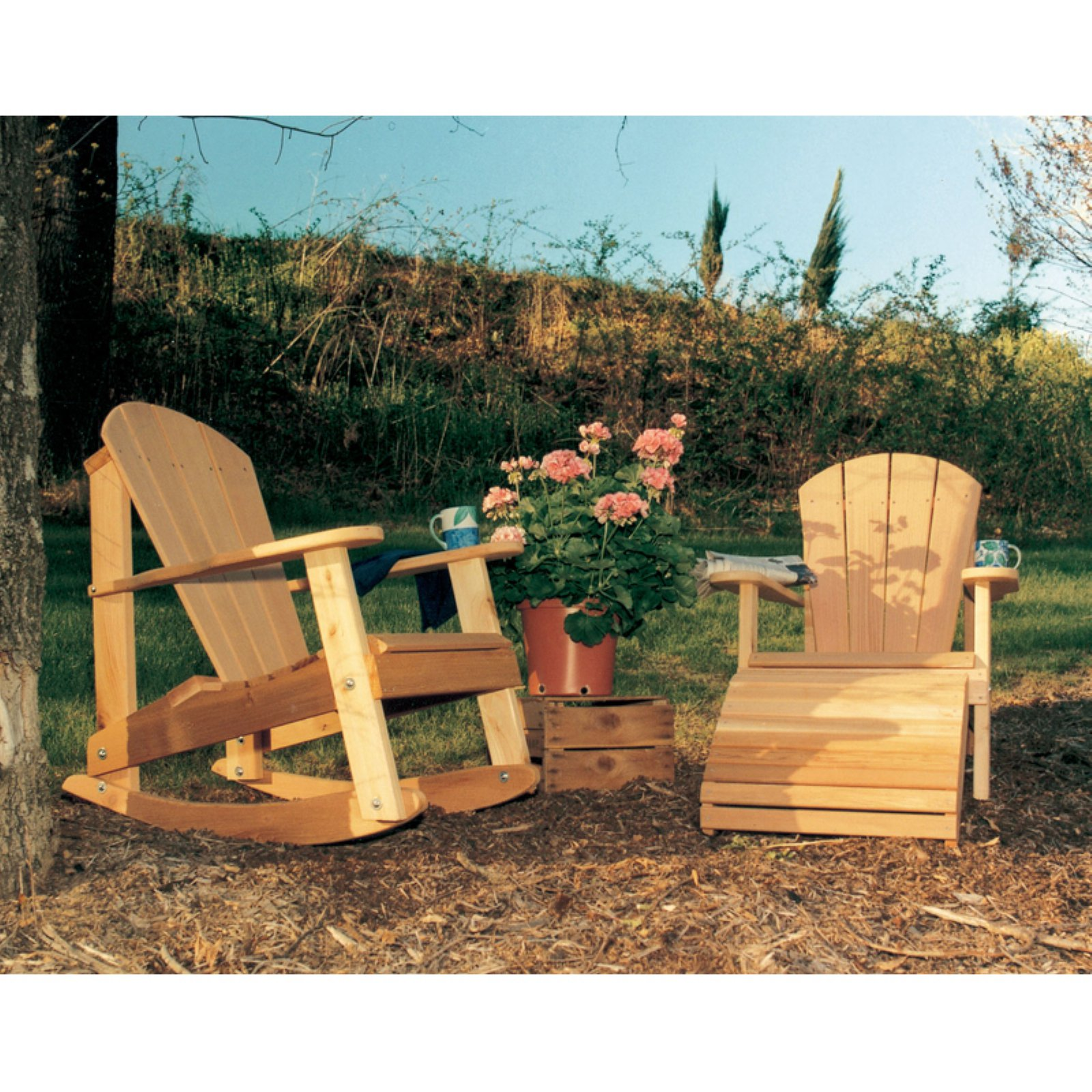 Creekvine Designs Cedar Adirondack Chair with Footrest and Rocker 3 pc. Set