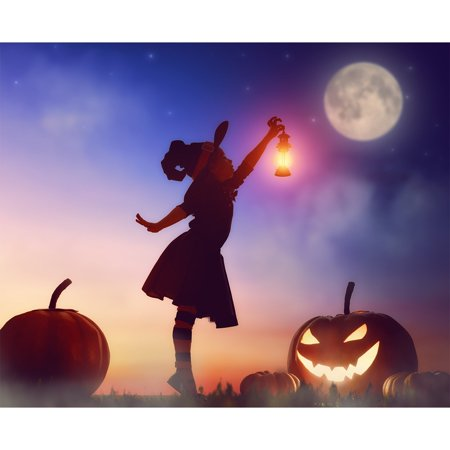 GreenDecor Polyster 7x5ft photography backdrop background Happy Halloween night moon carnival magical big pumpkin witch witchcraft Childhood kids girl props photo studio booth