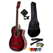 Fever 3/4 Size Acoustic Cutaway Guitar Package Redburst with Gig Bag, Guitar Tuner, Picks and Strap, FV-030C-DRD-PACK