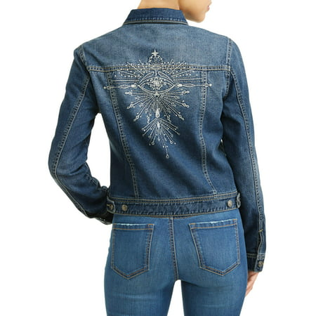 Angela Embroidered Evil Eye Denim Jacket Women