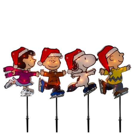 Peanuts Christmas 4ct Prelit Snoopy Ice Skating Pathway Markers Outdoor Decoration 12