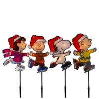 """Peanuts Christmas 4ct Prelit Snoopy Ice Skating Pathway Markers Outdoor Decoration 12"""" - Clear Lights"""