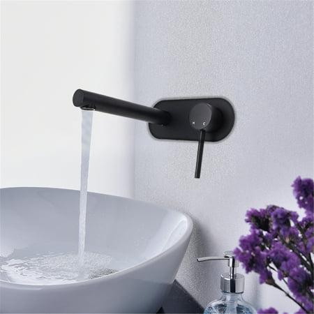 Wall Mounted Basin Mixer (Meigar Modern Copper Wall Mounted Mixer Tap Kitchen Bathroom Basin Sink Faucet Spout)