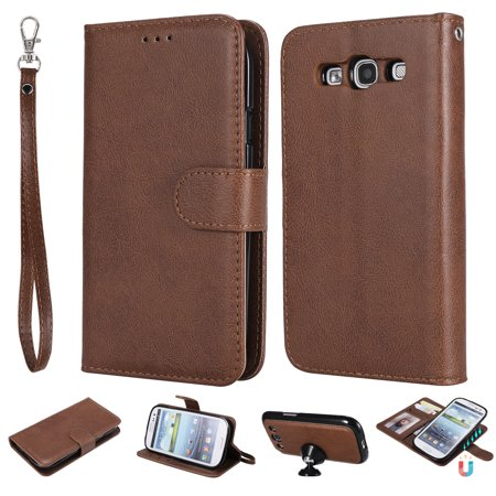 Galaxy S3 Case Wallet, S3 Case, Allytech Premium Leather Flip Case Cover & Card Slots Pocket, Wrist Design Detachable Slim Case for Samsung Galaxy S3 S III I9300 GS3 (Brown) (Galaxy S3 Cases Wallet)