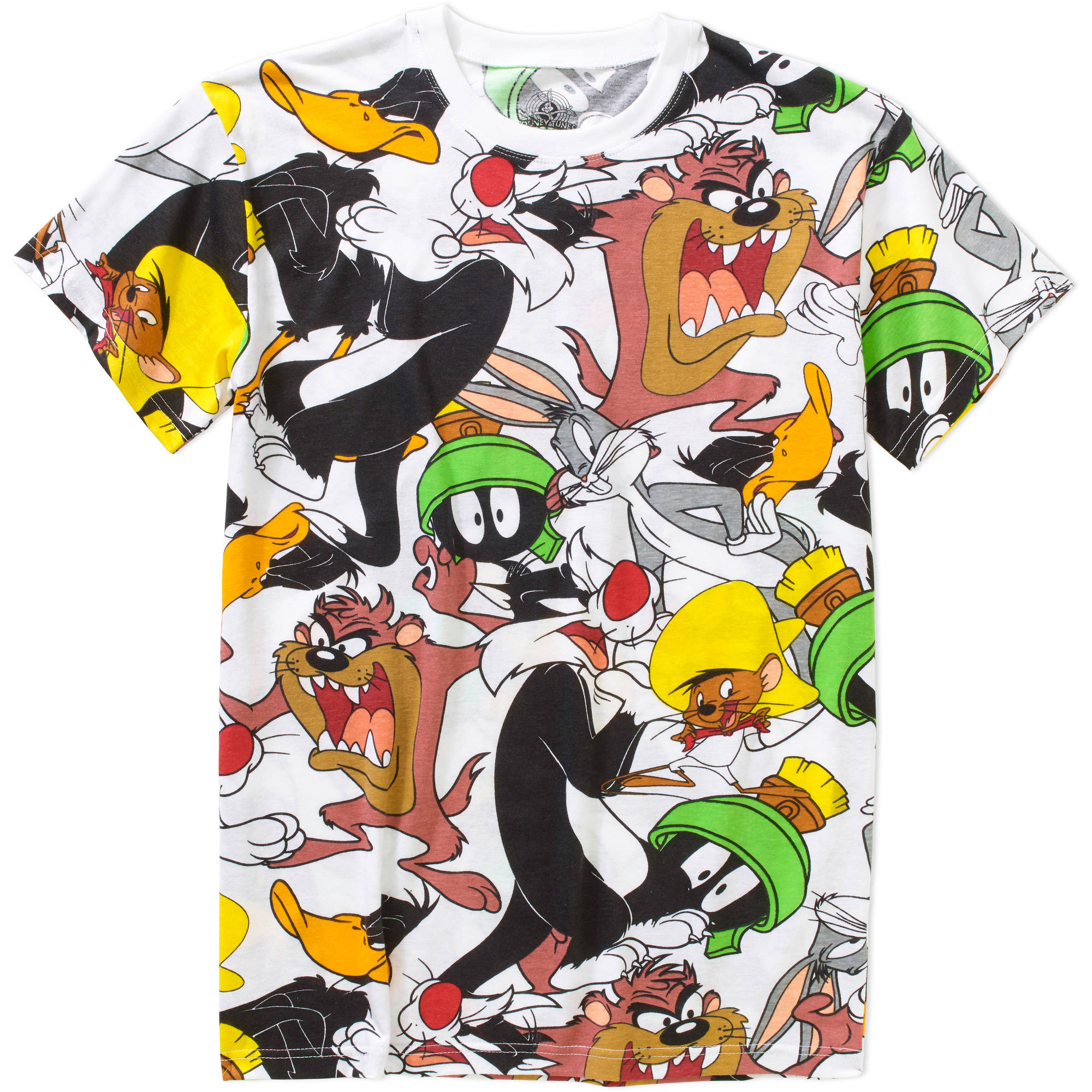 Looney Tunes Characters All Over Printed Big Men's Graphic Tee, 2XL