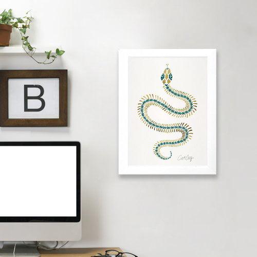 Americanflat 'Serpent Skelet On Emerald Gold' Print