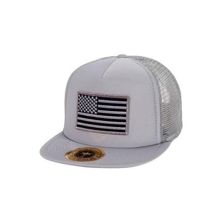 USA Flag Flat Bill Trucker Mesh Hat - Grey - Usc Hats