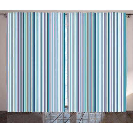 Striped Curtains 2 Panels Set Blue Purple Teal Aqua Lavender Colored Vertical Stripes Geometric