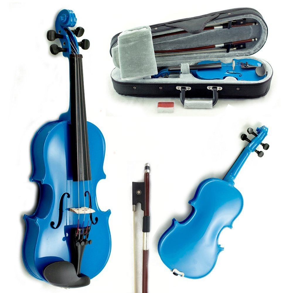 SKY Solid Wood 1/16 Size Kid Violin with Lightweight Case, Brazilwood Bow and Sky Blue Color