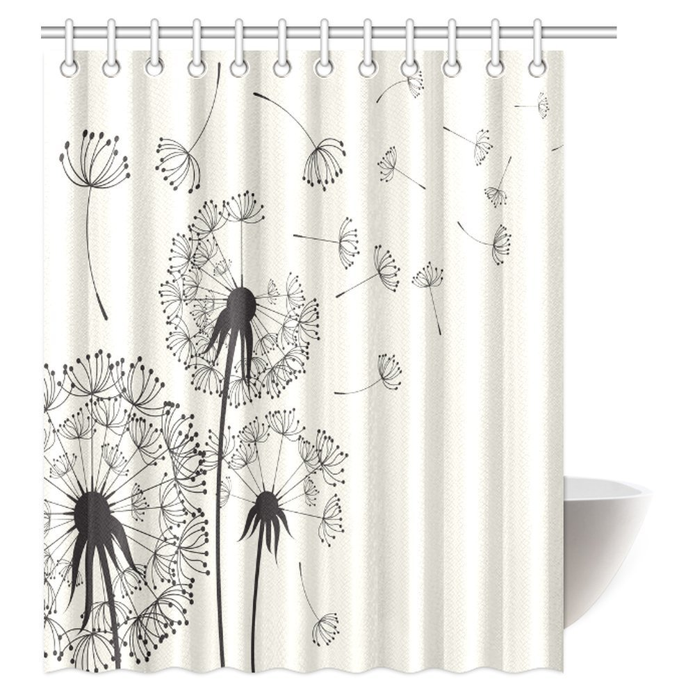 GCKG Dandelions Shower Curtain Flying In The Wind Dandelion