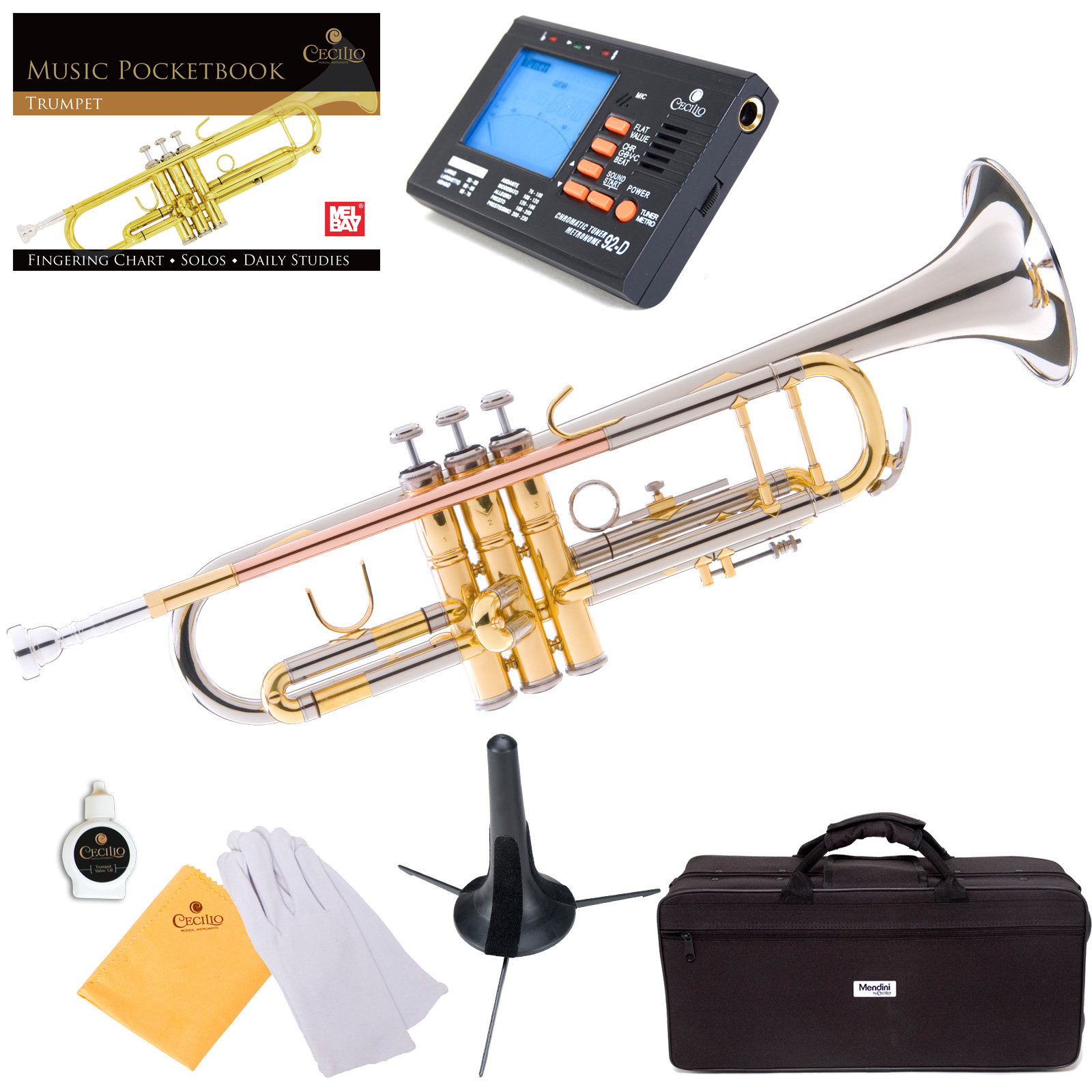 Mendini by Cecilio MTT-30CN Double-Braced Bb Trumpet w/Tuner, Stand, Deluxe Case and 1 Year Warranty