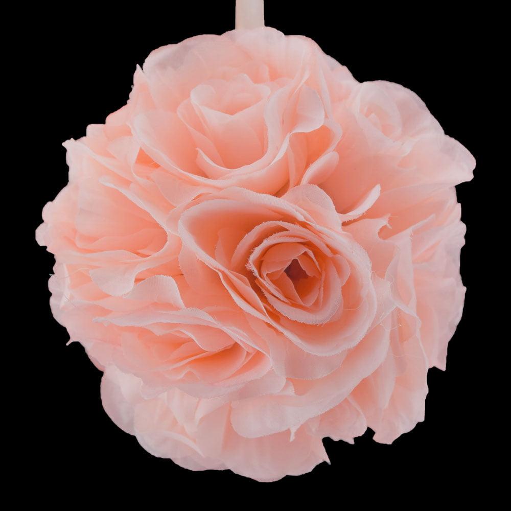 "Quasimoon 6"" Rose Quartz Pink Rose Flower Pomander Small Wedding Kissing Ball for Weddings and Decoration by PaperLanternStore"