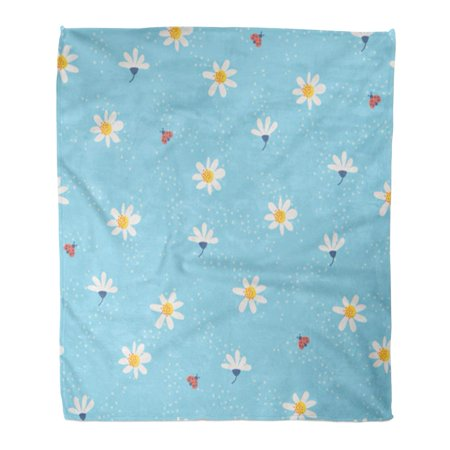 ASHLEIGH Flannel Throw Blanket Baby Flowers and Ladybugs Pattern Abstract Birthday Blossom Cute Soft for Bed Sofa and Couch 58x80 Inches
