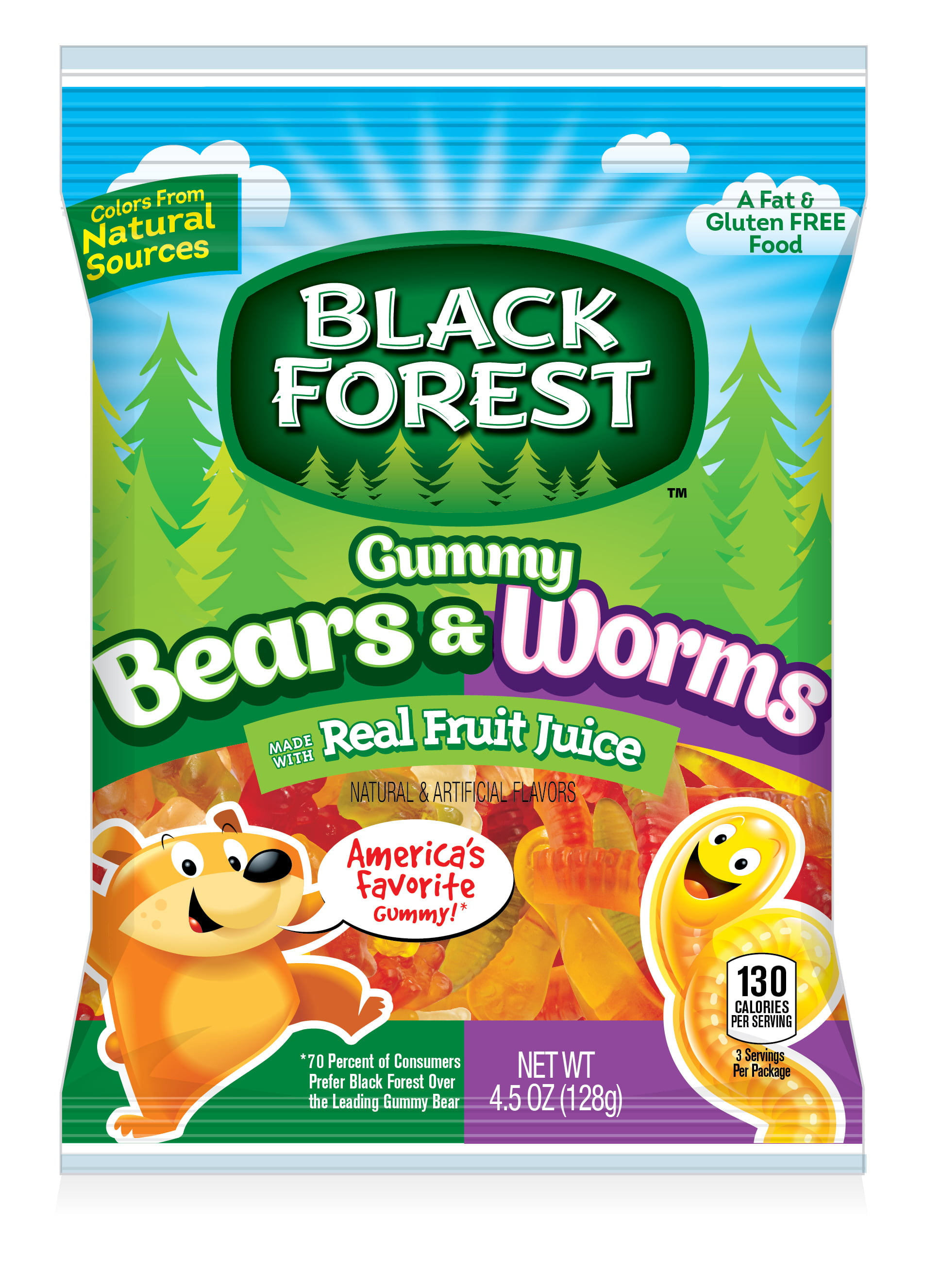 Black Forest Gummy Bears and Worms Candy, 4.5 Ounce Bag by FERRARA CANDY COMPANY