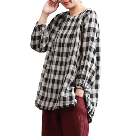 Cotton Pullover Top (Women Check Plaid Cotton Line Tops Pullover Casual Loose Shirt Blouse )