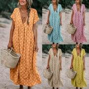 Multitrust Womens Boho Floral Fashion Baggy Tunic Dress Loose Kaftan Beach Holiday Sundress