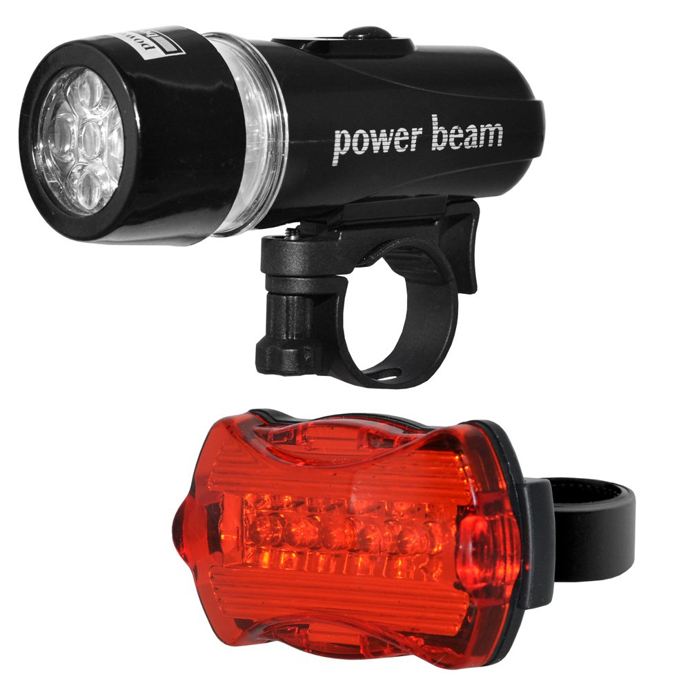 Waterproof 5 LED 2 in 1 Lamp Bike Cycle Bicycle Front Headlight  Torch and Battery Powered Rear Safety Warning Flashlight Tail Light