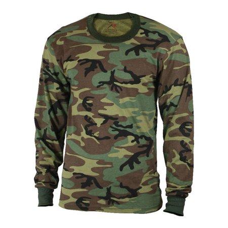 Rothco Men's Long Sleeve Camo T-Shirt, Woodland Camo, Medium
