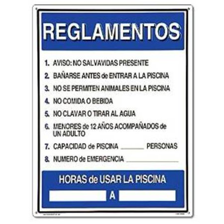Poolmaster spanish language reglamentos pool rules sign - Residential swimming pool regulations ...