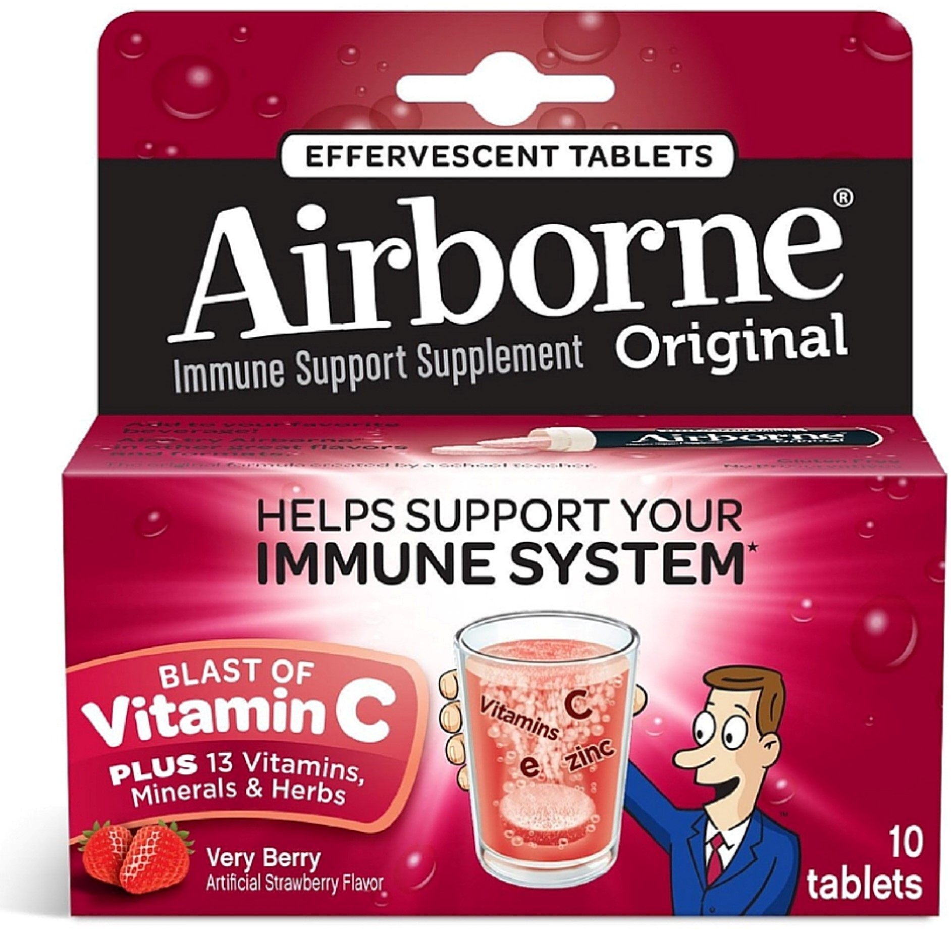 Airborne Immune Support Supplement Effervescent Tablets, Very Berry 10 ea (Pack of 6)