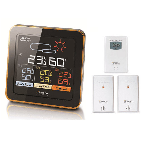 Oregon Scientific RAR502S Multi Zone Wireless Temperature Monitoring Station with Humidity Mold Alert Weather Forecast... by