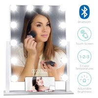 Best Choice Products Hollywood Vanity Mirror w/ Bluetooth Speakers, 12 Adjustable LED Lights, Phone Stand - White