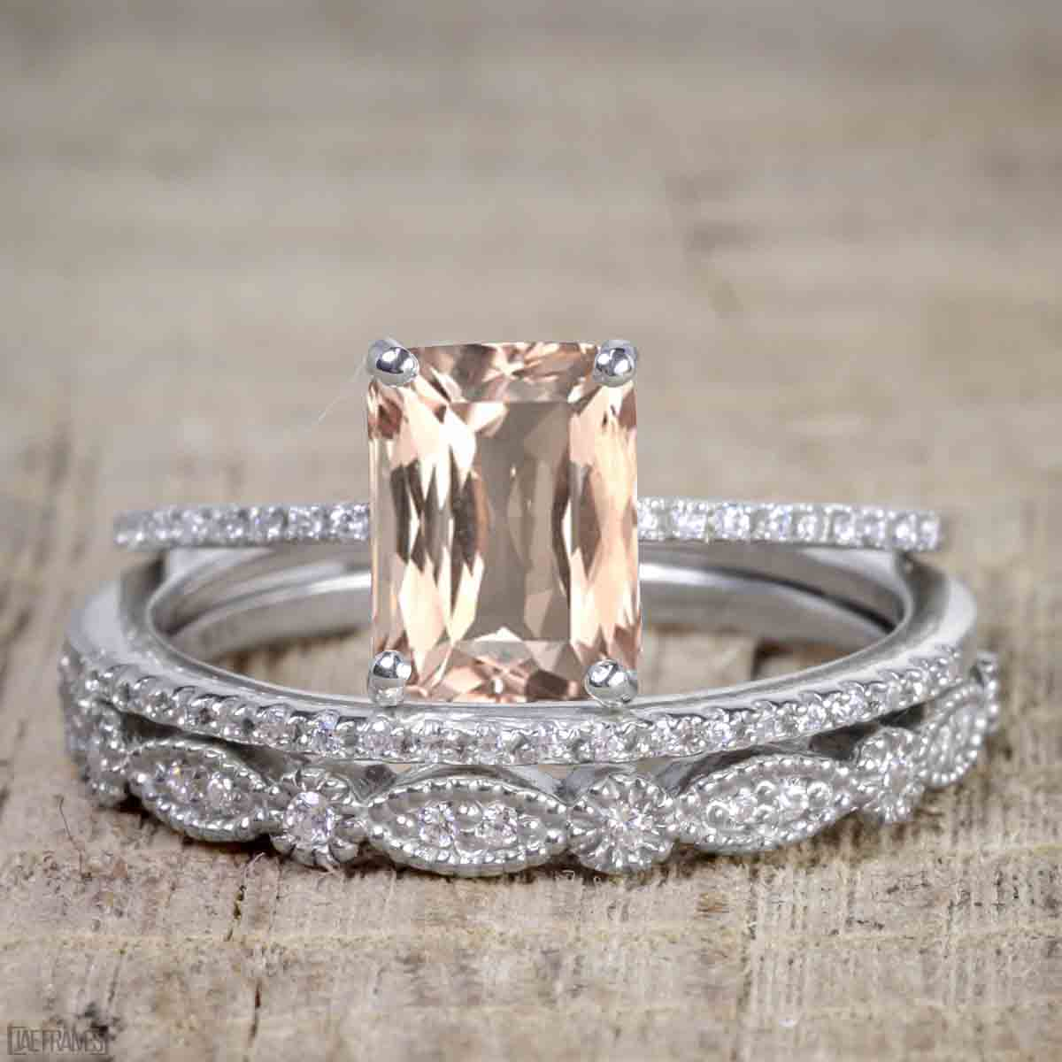 Artdeco 1.50 Carat Morganite cut Morganite and Diamond Trio Wedding Bridal Ring Set White Gold by JeenMata
