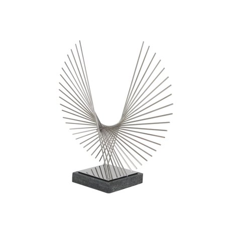 Decmode Modern 22 Inch Silver Stainless Steel and Marble Broken Radial Pattern Abstract Sculpture, - Steel Sculpture