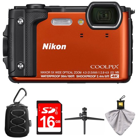 Nikon COOLPIX W300 16MP 4k Ultra HD Waterproof Digital Camera Orange (26524) with Camera Case with Carabiner, 16GB Memory Card, Mini Table-top Tripod with Clear Case & Microfiber Cleaning
