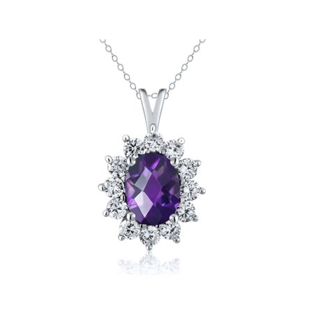 1.60 Ct Oval Checkerboard Purple Amethyst 925 Sterling Silver Pendant